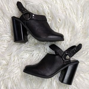 Ecoté 100% leather backless booties